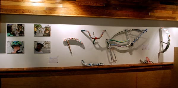 Art created by youth from the Bike Tech program on display at the Detroit Creative Corridor Center